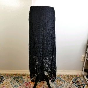 VTG Goth Faded Glory Floral Lace Maxi Skirt XXL